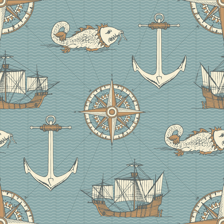 Vector abstract seamless background on the theme of travel, adventure and discovery. Old caravels, vintage sailing yachts, wind roses, anchors and giant catfishes in retro style Illustration