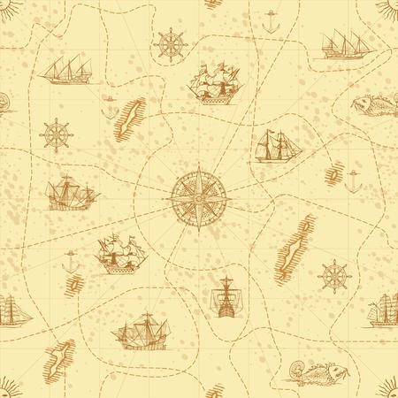 Fondo senza cuciture astratto di vettore sul tema del viaggio, dell'avventura e della scoperta. Vecchia mappa disegnata a mano con yacht a vela d'epoca, rosa dei venti, rotte e simboli nautici