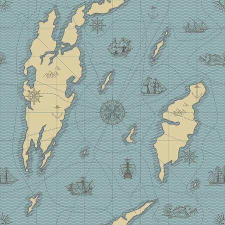 Abstrait sans soudure de vecteur sur le thème du voyage, de l'aventure et de la découverte. Ancienne carte dessinée à la main avec des yachts à voile vintage, rose des vents et symboles nautiques