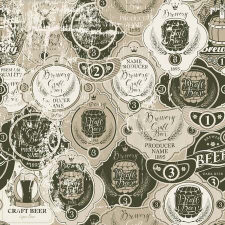 Vector seamless pattern on the theme of beer with various beer labels with images of wooden barrels, ears of barley, beer glasses, mills and other in retro style