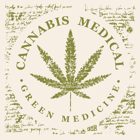 Vector banner for Medical cannabis with hemp leaf pattern on abstract old papyrus background or grunge style manuscript. Natural product of green medicine made from organic hemp