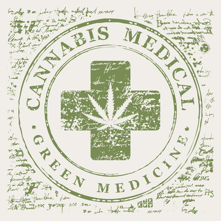 Vector banner for Medical cannabis with hemp leaf pattern and medical cross on abstract old papyrus background or grunge style manuscript. Natural product of green medicine made from organic hemp