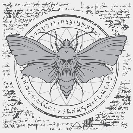 Illustration eines toten Schmetterlings toten Kopfes mit Schädelförmigem Muster auf dem Brustkorb auf einem abstrakten Hintergrund des alten Manuskripts mit Kreis, magischen Inschriften und Symbolen. Vektorfahne im Retro-Stil Vektorgrafik
