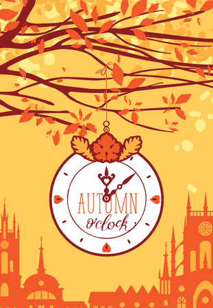 Vector urban landscape in retro style on the fall theme. Autumn landscape with trees in the park and Clock on a background of an old European city Illusztráció
