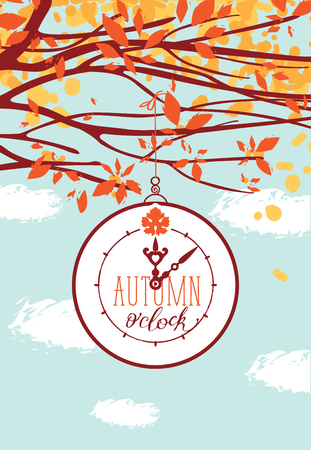 Vector banner on autumn theme. Colorful landscape with clock and autumn tree branches in the park or forest on a background of blue sky with clouds