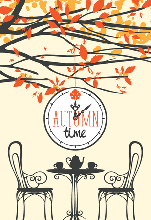 Vector banner with words Autumn time on clock in retro style. Landscape with table for two, chairs, two cups and a kettle under the autumn yellowed tree. Illustration