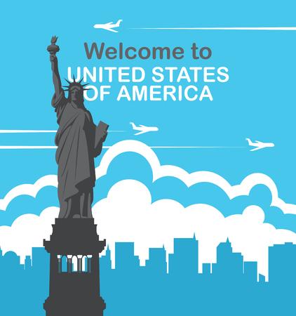 Bandera de vector con la estatua de la libertad, aviones voladores y siluetas de rascacielos. Bienvenidos a Estados Unidos de America