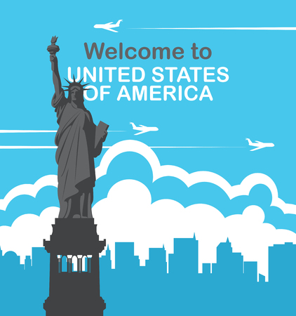 Vector banner with Statue of liberty, flying planes and silhouettes of skyscrapers. Welcome to United States of America
