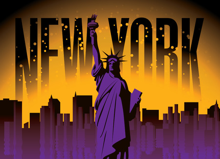 Vector banner with statue of Liberty among the skyscrapers of New York on the night sky background. American landmark Vektorgrafik