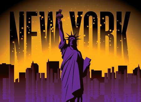 Vektorbanner mit Freiheitsstatue unter den Wolkenkratzern von New York auf dem Nachthimmelhintergrund. Amerikanisches Wahrzeichen Vektorgrafik