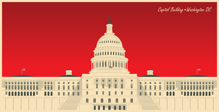 Vector banner with US National Capitol building in Washington, DC. American landmark. The Western facade of the Capitol
