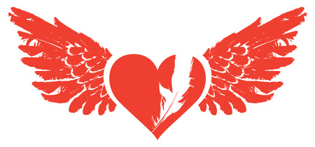 Vector graphic abstract illustration of red heart with wings isolated on white background. Flying heart with white feather. T-shirt design template