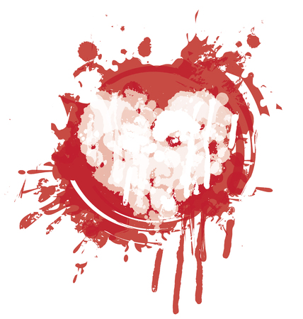 Vector graphic abstract illustration of heart with red ink blots, drops. Heart with bloody spots and splashes on white background. T-shirt design template