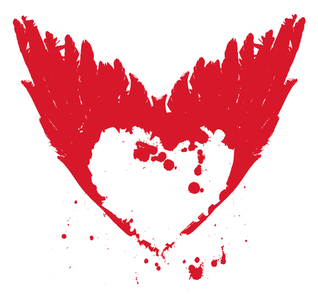 Vector graphic abstract illustration of red heart with ink blots, drops and wings. Flying heart. T-shirt design template
