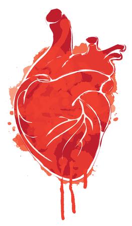 Ilustración abstracta gráfica de vector rojo del corazón humano con manchas de tinta, gotas y goteos. Corazón ensangrentado con manchas y salpicaduras sobre fondo blanco. Plantilla de diseño de camiseta