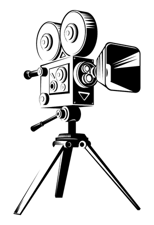 Black retro movie camera on a tripod. Flat vector cartoon illustration isolated on a white background.