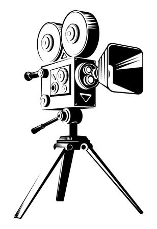 Cámara de cine retro negra sobre un trípode. Ilustración de dibujos animados de vector plano aislado en un fondo blanco.