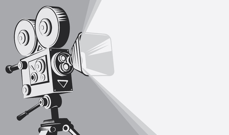 Vector black and white background with lighting old fashioned movie camera on the tripod. Can used for banner, poster, web page, background Иллюстрация
