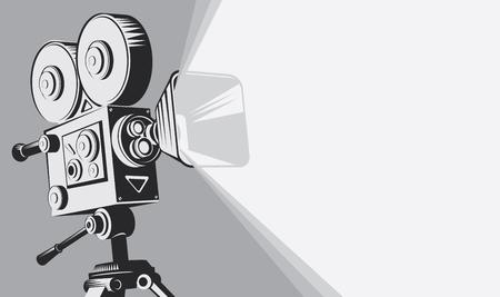 Vector Schwarz-Weiß-Hintergrund mit Beleuchtung altmodischer Filmkamera auf dem Stativ. Kann für Banner, Poster, Webseiten, Hintergrund verwendet werden Vektorgrafik