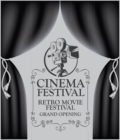 Vector cinema festival poster with black Curtains and retro movie camera. Movie background with words Retro movie, Grand opening. Can be used for banner, poster, web page, background