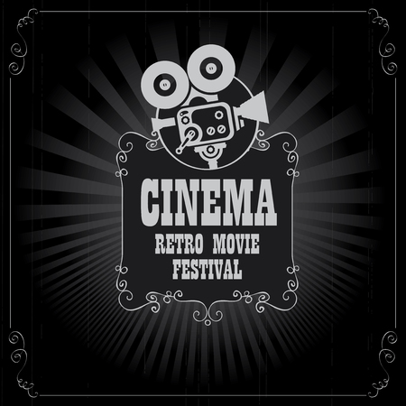 Vector cinema movie festival poster with old fashioned movie camera in retro style. Can be used for banner, poster, web page, background