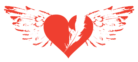 Vector graphic abstract illustration of red heart with wings isolated on white background. Flying heart with white feather. T-shirt design template Ilustração