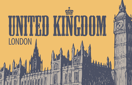 Vector postcard with hand drawn Palace of Westminster and Big Ben in London, UK. Retro postcard with words United Kingdom, London
