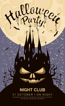 Vector banner for Halloween party with horrid face and an old Gothic castle at the cemetery on the background of the full moon