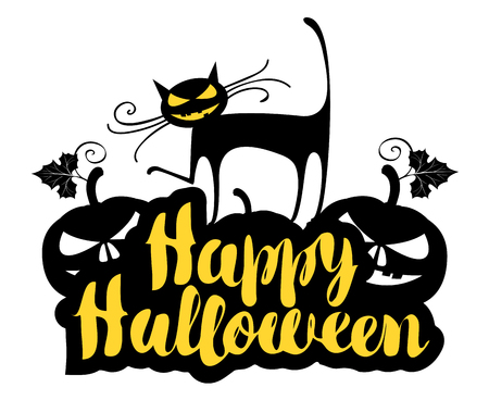 Happy Halloween lettering with a horrible cat and terrible pumpkins. Vector calligraphic inscription for banner, poster, greeting card, party invitation. Vectores