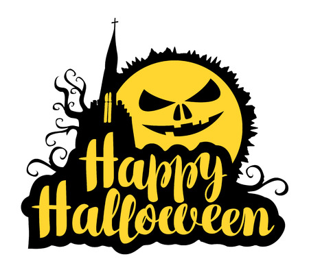 Happy Halloween lettering with horrible moon and gothic castle. Vector calligraphic inscription for banner, poster, greeting card, party invitation.