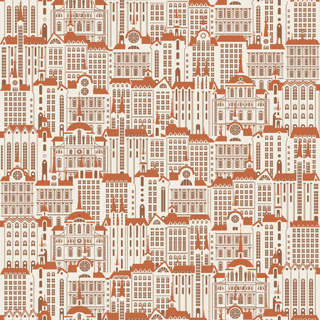 Vector seamless pattern with a lot of buildings of the Old town in retro style. Seamless drawing background, can be used as wallpaper or wrapping paper. Vector Illustration
