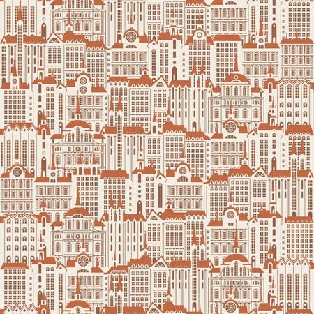 Vektor nahtloses Muster mit vielen Gebäuden der Altstadt im Retro-Stil. Nahtloser Zeichnungshintergrund, kann als Tapete oder Geschenkpapier verwendet werden. Vektorgrafik