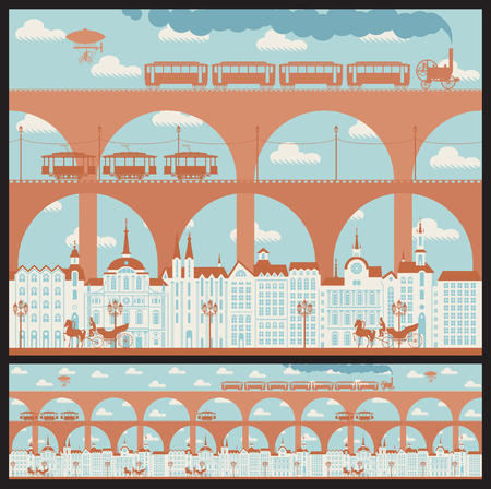 Vector seamless horizontal pattern with an old town with bridges and vintage transport in retro style