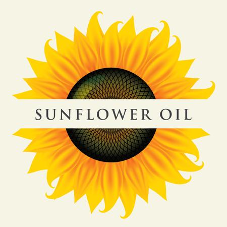 Bannière de vecteur carré ou étiquette pour l'huile de tournesol sous la forme de gros plan de tournesol avec inscription sur fond clair