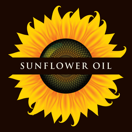 Square vector banner or label for sunflower oil in the form of sunflower close-up with inscription on black background