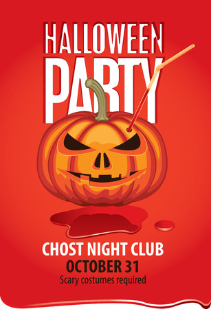 Vector banner for Halloween party with pumpkins head with straw for drinks in a puddle of blood. Scary flyer or invitation template for Halloween 일러스트