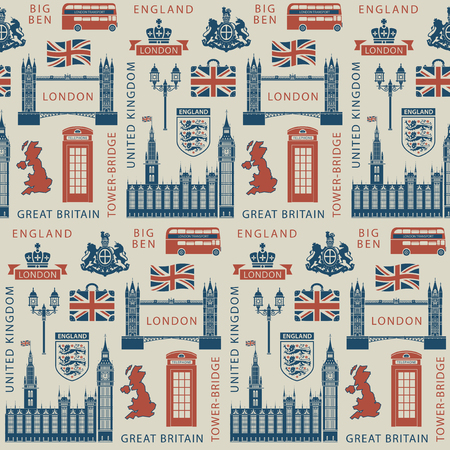 Vector seamless Background on UK and London theme with British symbols, architectural landmarks and flag of the United Kingdom in retro style. Can be used as wallpaper or wrapping paper