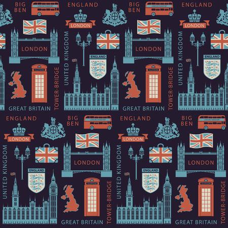 Vektor nahtloser Hintergrund auf Großbritannien und London Thema mit britischen Symbolen, architektonischen Wahrzeichen und Flagge des Vereinigten Königreichs im Retro-Stil. Kann als Tapete oder Geschenkpapier verwendet werden Vektorgrafik