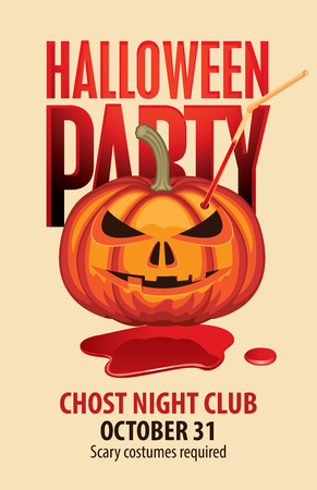 Vector banner for Halloween party with pumpkins head with straw for drinks in a puddle of blood. Scary flyer or invitation template for Halloween Vectores