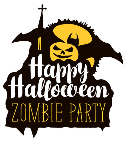 Happy Halloween lettering for zombie party with smiling pumpkin, bat, gothic church and full moon. Vector calligraphic inscription for banner, poster, greeting card, icon, party invitation.