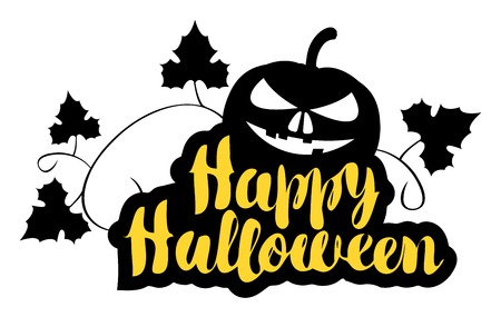 Happy Halloween lettering with a smiling face of horrible pumpkin. Vector calligraphic inscription for banner, poster, greeting card, party invitation.