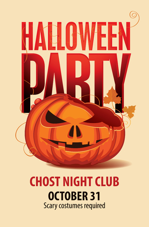 Vector Halloween banner with inscription and broken pumpkins head. Flyer or invitation template for Halloween party with a small PostScript Scary costumes required. Vectores