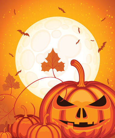 Vector background on Halloween theme with a smiling pumpkins head, a full moon and bats. Scary flyer or invitation template for Halloween