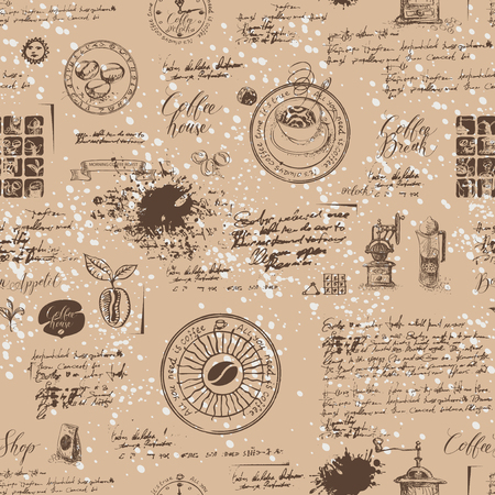 Vector seamless pattern on the coffee theme with a various coffee symbols, blots and inscriptions on a background of old manuscript in retro style. Can be used as wallpaper or wrapping paper Иллюстрация