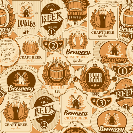 Vector seamless pattern on the theme of beer with various beer labels with images of wooden barrels, beer glasses, mills, laurel wreathes, ears of wheat and other in retro style on light background