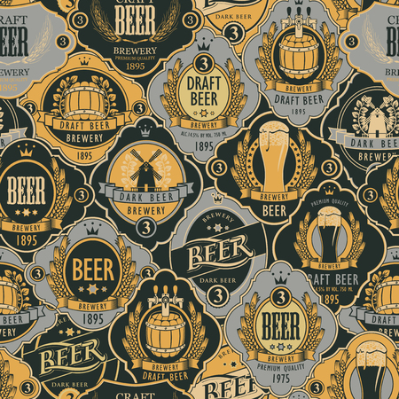 Vector seamless pattern on the theme of beer with various beer labels with images of wooden barrels, beer glasses, mills, laurel wreathes, ears of wheat and other in retro style