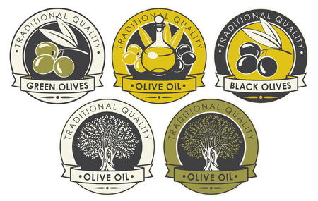Vector set of labels or stickers for olives and olive oil of round shape with ribbons in retro style