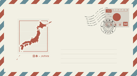 Vector envelope with a map of Japan with a postage stamp with a Japanese flag and a postmark in the form of a Japanese coat of arms.