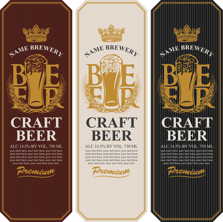 Set of three beer labels with a full glass of beer, wheat or barley ears, crown and place for text. Vector labels or banners for craft beer and brewery in retro style
