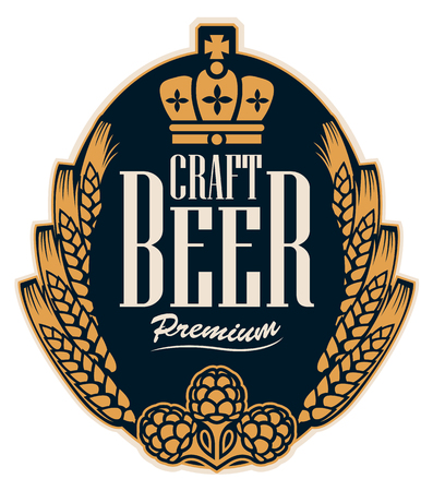 Template beer label with wheat or barley ears, hops and crown in oval frame. Vector label for craft beer in retro style in form of coat of arms Çizim